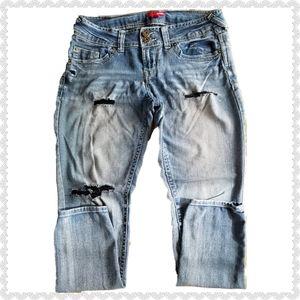 Bongo Skinny Deconstructed Denim Jeans Blue Size 9
